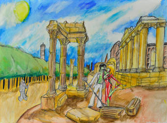 Zombie Cabaret in Roman ruins by majna