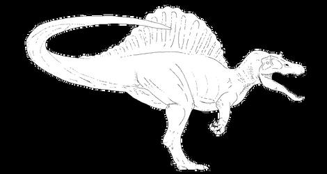 JP3 Spinosaurus Line Art [Free] MS PAINT FRIENDLY by IrritatorRaji