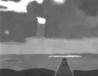 Greyscale Beach Painting by KyynNightbow