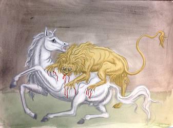 Lioneatinghorse by hellosusann