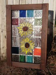 2 sunflowers panel by glasslinger
