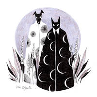 Moon Cat and Sun Dog by ullakko