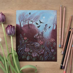 Hares and Crows (original for sale) by ullakko