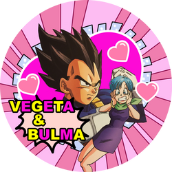 Dragon Ball Super Vegeta x Bulma button by Dbzbabe