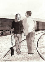 romantic couple on the railroad tracks by DrawingsByTony