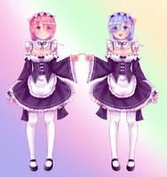 Rem and Ram by shigeru-chan