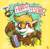 Commission 2012 - Festivus Raccoon by raizy