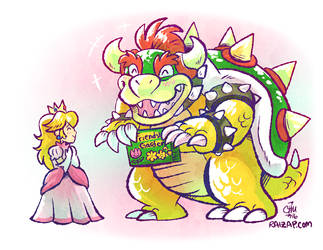 Bowser and Peach Being Cute by raizy