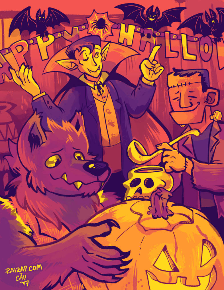 [Commission] Monster Halloween Party by raizy