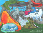 Elemental dragons by Jellyka