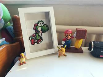 [FOR SALE] Framed Yoshi Island Cross Stitch by Gerona-Queen