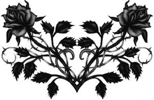 Gothic Black Rose Back Tattoo by Runeflame