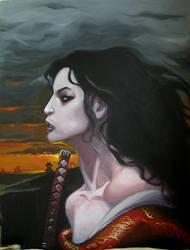 woman at sunset by moritat