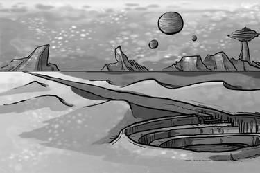 concept - space desert, value art by Dirgewood