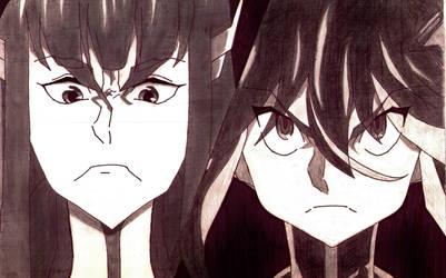 satsuki and ryuko by kinglimary
