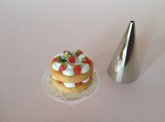 Miniature polymer clay strawberry shortcake by MeganHess