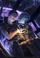 Mass Effect - Shepard + Liara by onibox