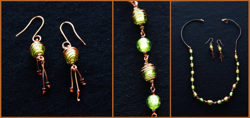 Jewellery set:Copper and green by Margotka