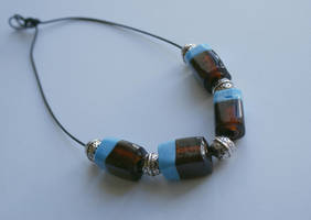 necklace: brown and blue by Margotka
