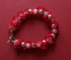 bracelet: red is the colour by Margotka