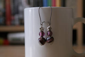 earrings: purple millefiori by Margotka