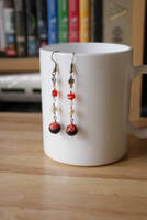 earrings: red millefiori by Margotka