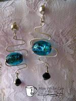 earrings: turquoise zigzags by Margotka