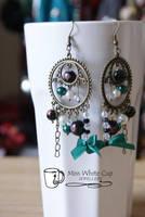 earrings: Steampuncute Emerald by Margotka
