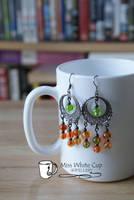 earrings: green and orange cascade by Margotka