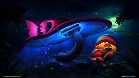 Glowing mushrooms #AW0003 by PeterKmiecik