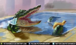 Speedpainting Aligator in pool by PeterKmiecik