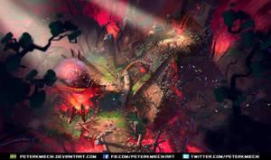 Fantasy Aztec ruins concept art by PeterKmiecik