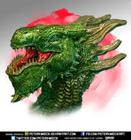 Green Fantasy Dragon Head by PeterKmiecik
