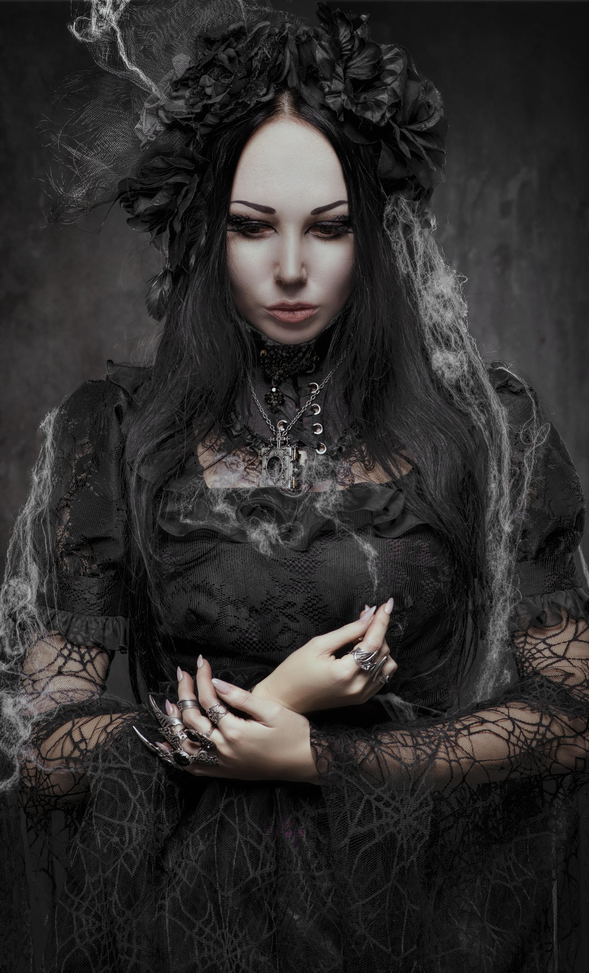 Gothic woman in dark 4 by bouzid27