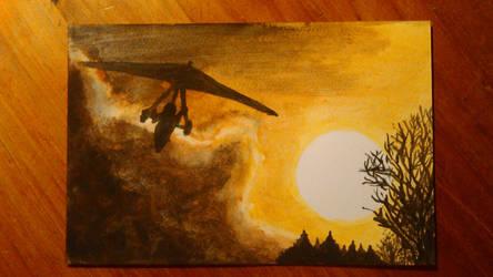 Flying during sunset  by Sevenkat