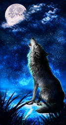 .: Howling Moon :. by WhiteSpiritWolf