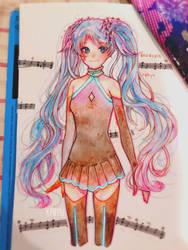 Ghost Rule Miku Watercolor by Kalidreamine