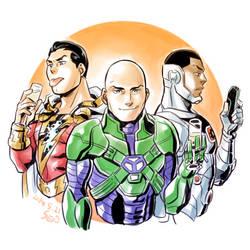 Shazam, Luthor and Cyborg by Sii-SEN