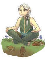 Kid Niamh by river-bird