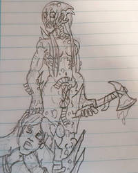 Female Zed with her victim (doodle) by Cisper97