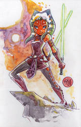 Watercolor: Ahsoka Tano by mikemaihack