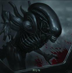 Alien: covenant fan art - 'RUN' by the6829