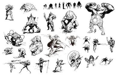 Alien Sketches by david-sladek
