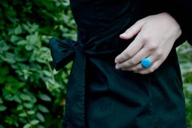 Statement Howlite Silver Ring Model Shot by Abish-Essentials