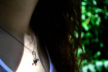 Denim Lapis and Silver Necklace on Model by Abish-Essentials