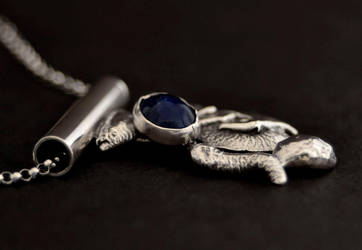 Sterling Silver Abstract Pendant with Lapis Side by Abish-Essentials