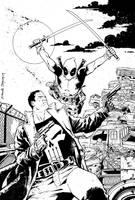 Punisher vs Deadpool inks by DeclanShalvey