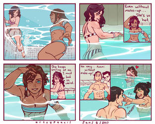 Team Korra Visits the Pool by Artsypencil
