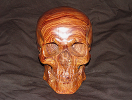 Carved wood skull in Cocobolo by WaterwalkerWoodworks