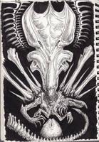Inktober 08-Alien queen by SpinoJP